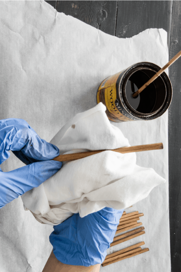 staining dowels with special walnut stain