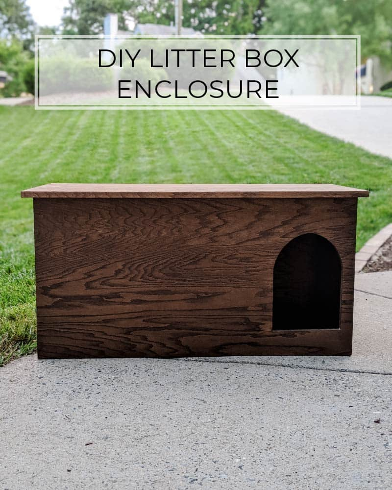 DIY litter box enclosure with rounded hole for cat