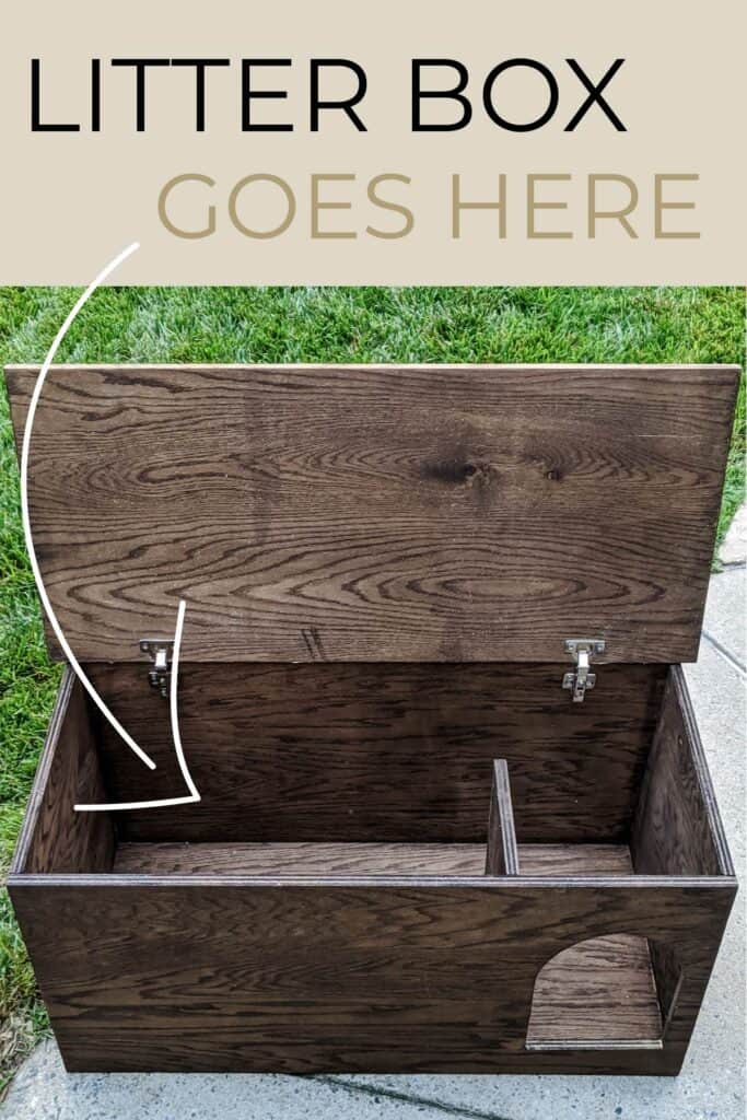 litter box goes inside of a DIY chest