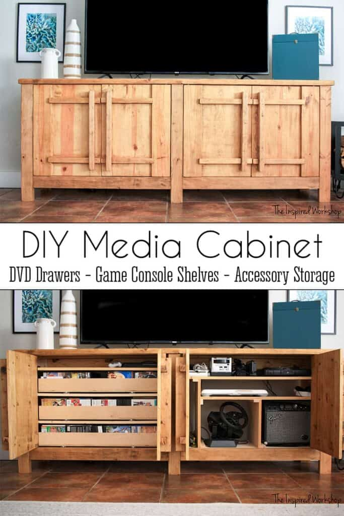 wood media cabinet with optimized storage shelves and drawers