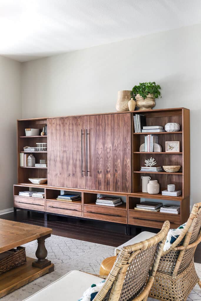 Walnut and metal entertainment center