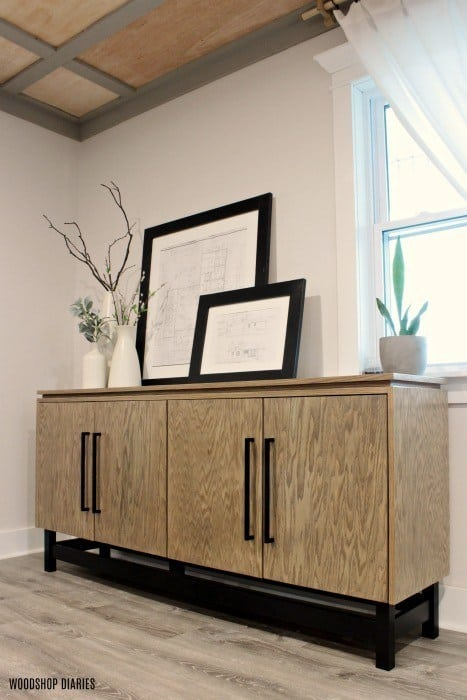 modern console cabinet with floating wood top