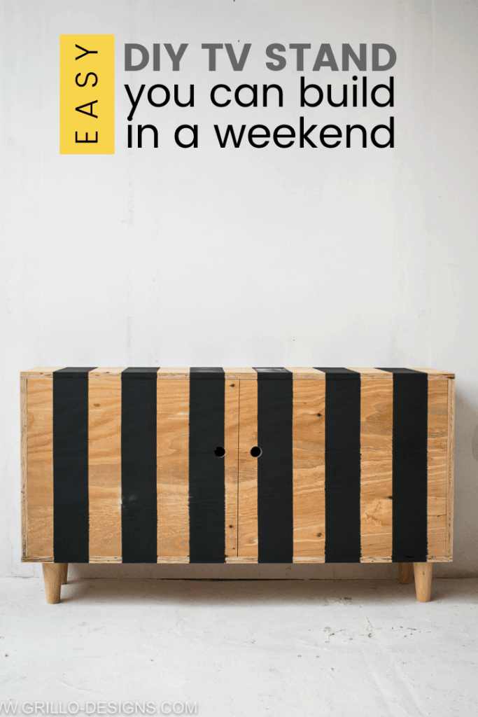 black and wood striped tv stand