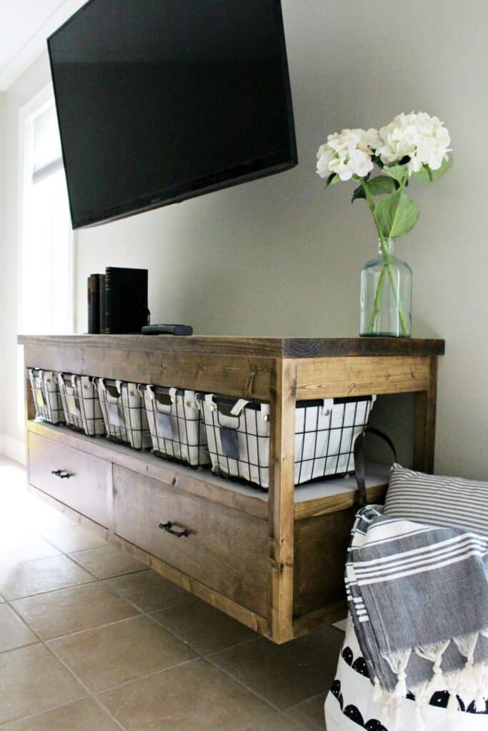 floating wood console with baskets for hiddern storage