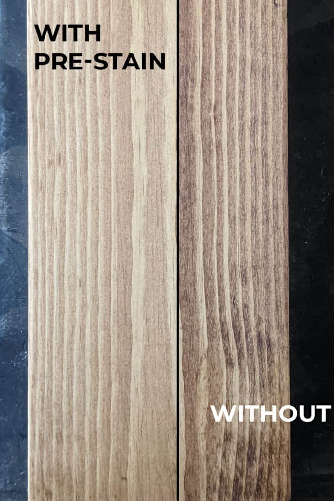 side by side of pine with and without pre-stain wood conditioner