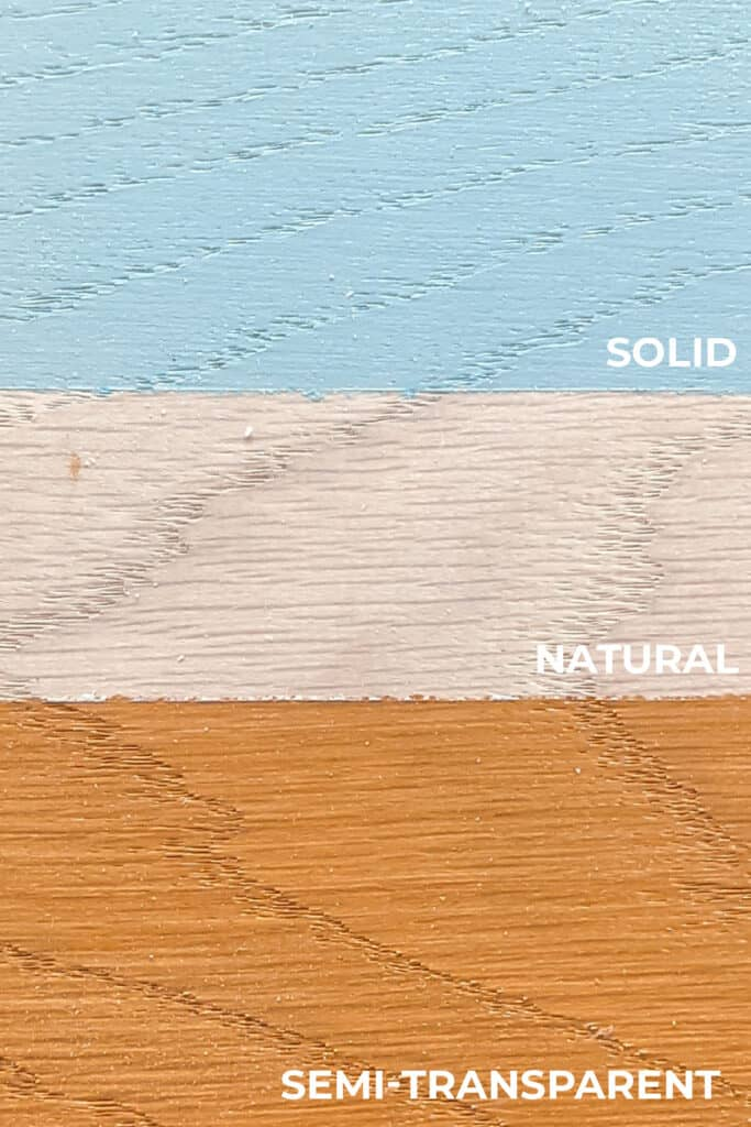 semi-transparent vs. solid stain color