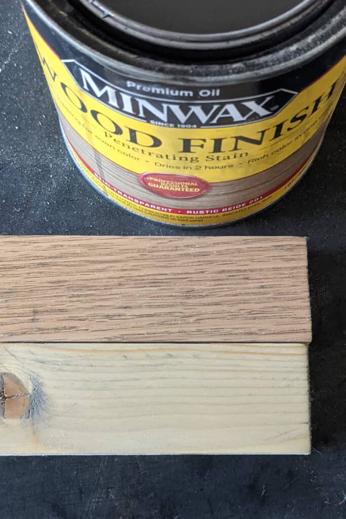 Minwax Rustic Beige stain on red oak and pine