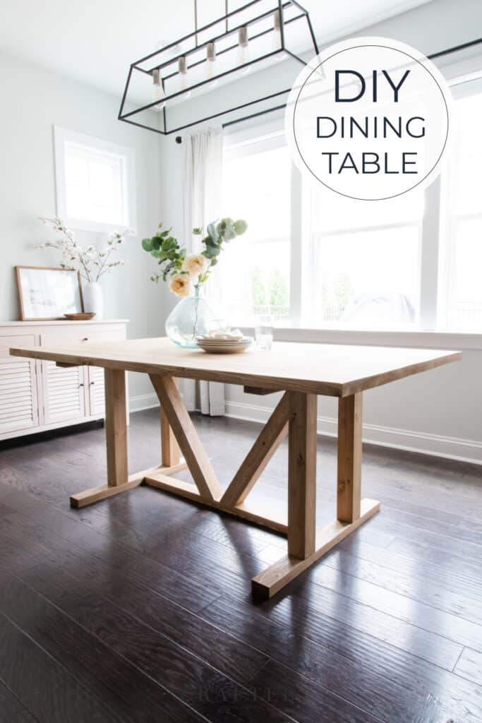 DIY dining table with pillar legs stained in Minwax Driftwood