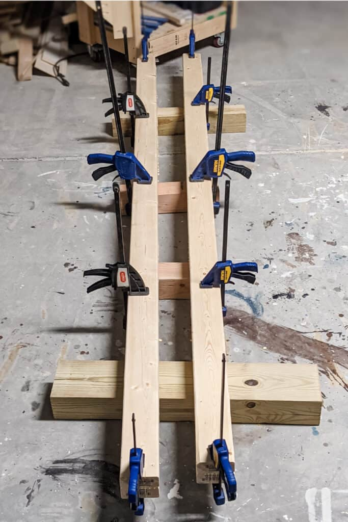 clamping 2x4s together to make 4x4s
