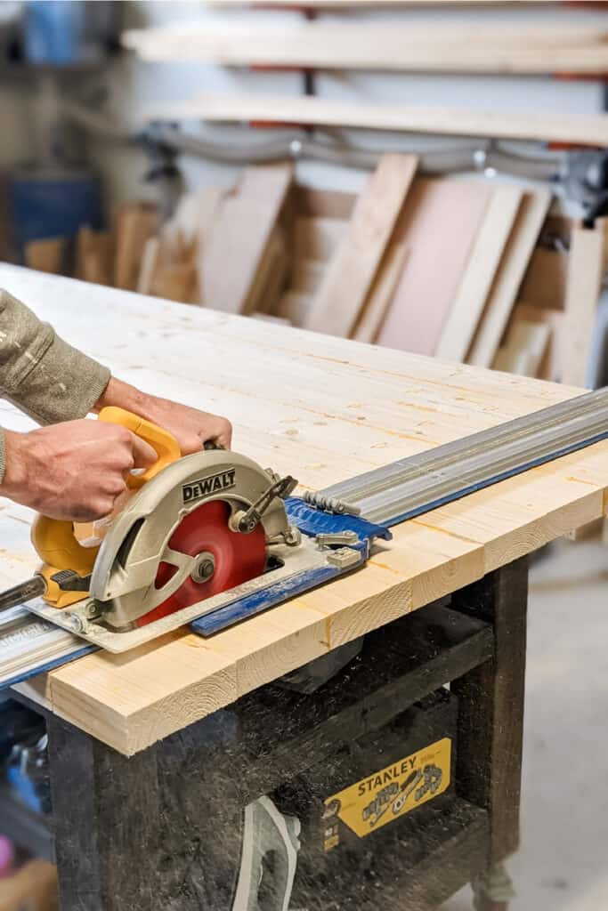 cutting ends of table with circular saw and Kreg Accu-cut