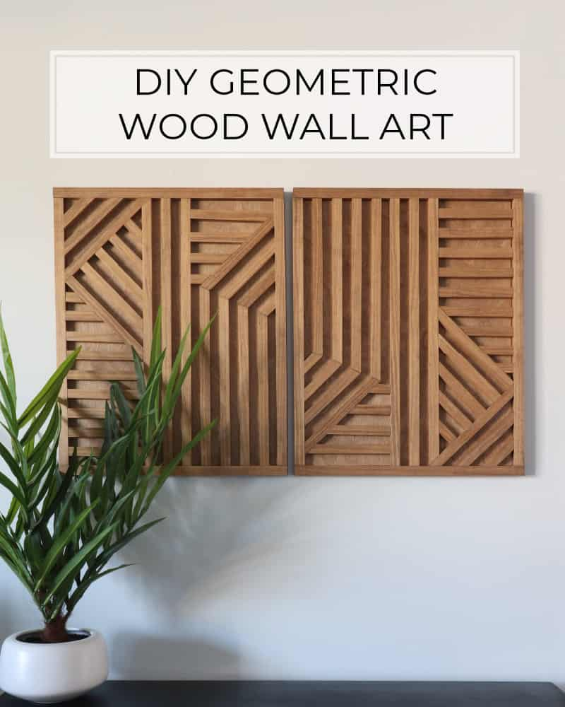 DIY geometric wood wall art stained in Special Walnut