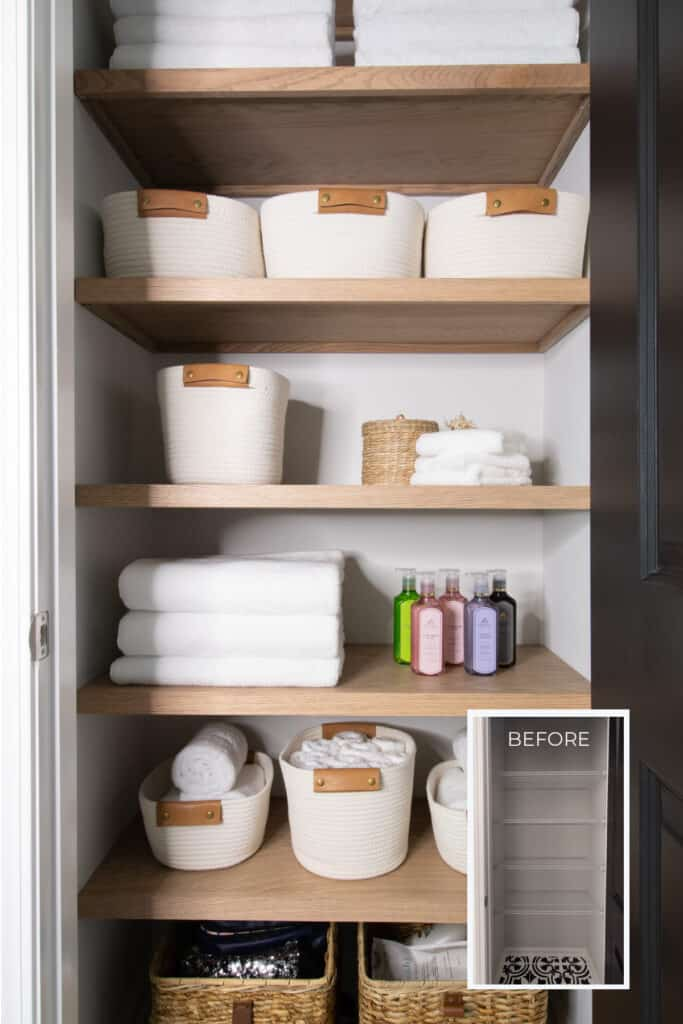 linen closet with plywood shelves, white towels, and rope baskets compared to before of wire shelving