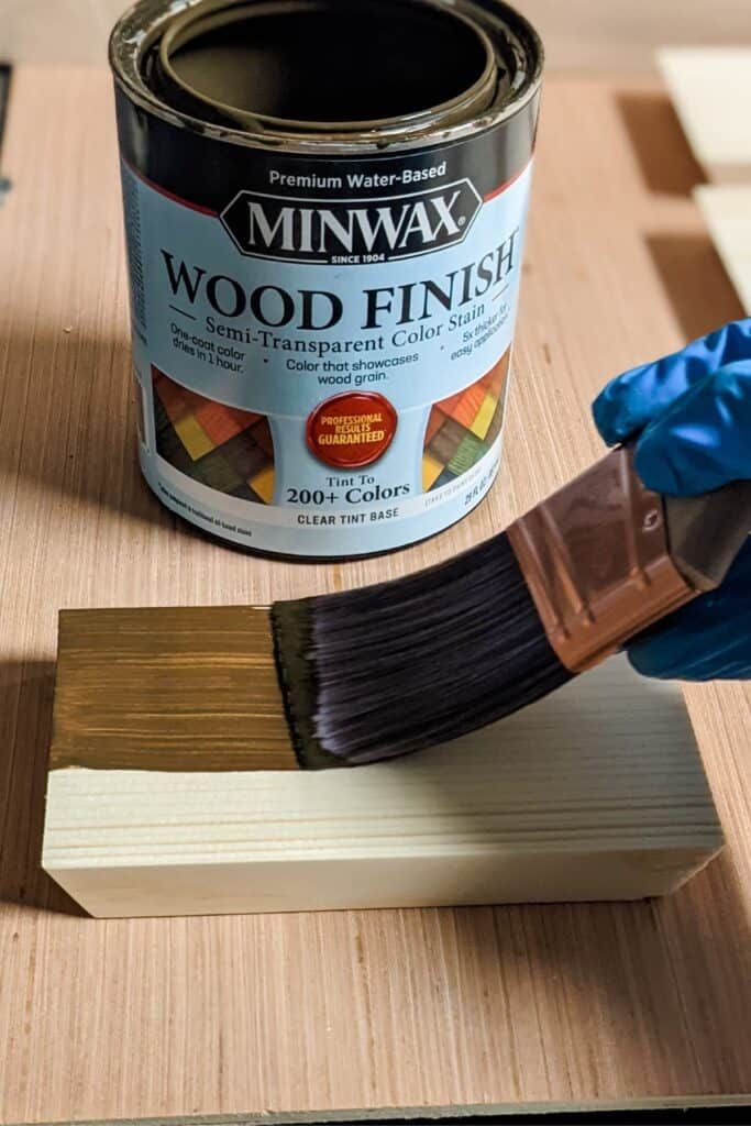applying Minwax wood finish semi-transparent color stain in driftwood to wood using Purdy XL brush