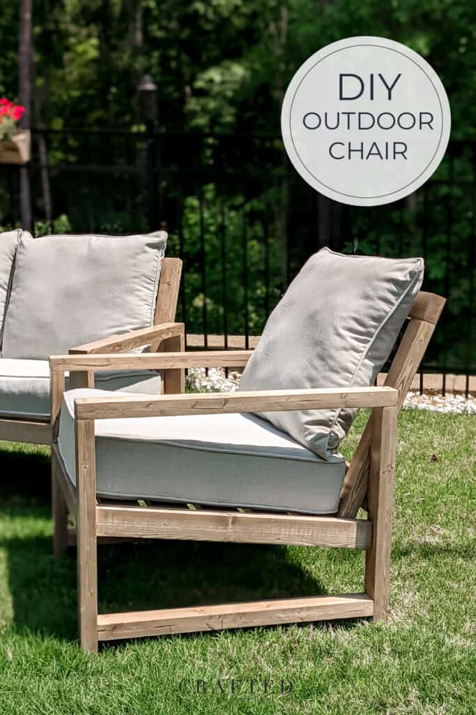 DIY outdoor chair stained in weathered oak