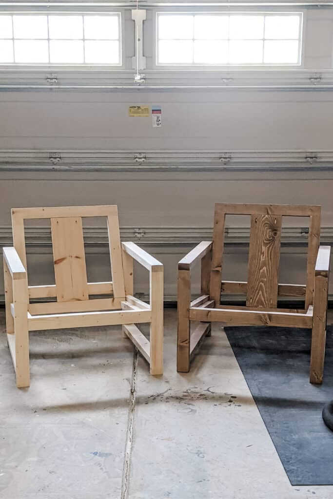 side by side of DIY outdoor chairs before and after staining