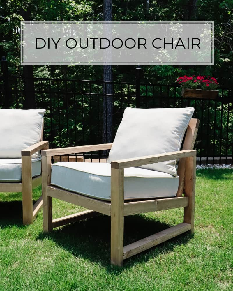 diy outdoor chair in grass with light gray cushions