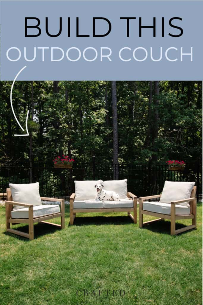 Build this outdoor couch | DIY outdoor furniture with dalmatian sitting on sofa