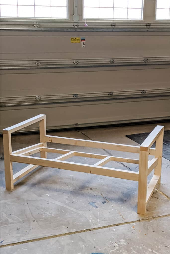 base of DIY outdoor couch