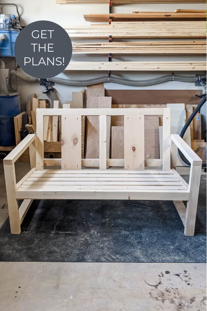 assembled DIY outdoor sofa before staining